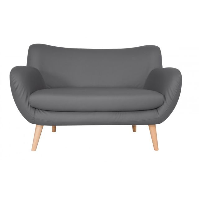 Rocambolesk Canapé Adele 2 Pu soft 29 gris avec pieds naturels sofa divan