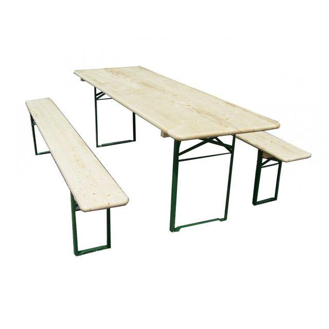 HABRITA Set brasserie COLOGNE comprenant 1 table 220 x 80 cm + 2 bancs 8 personnes