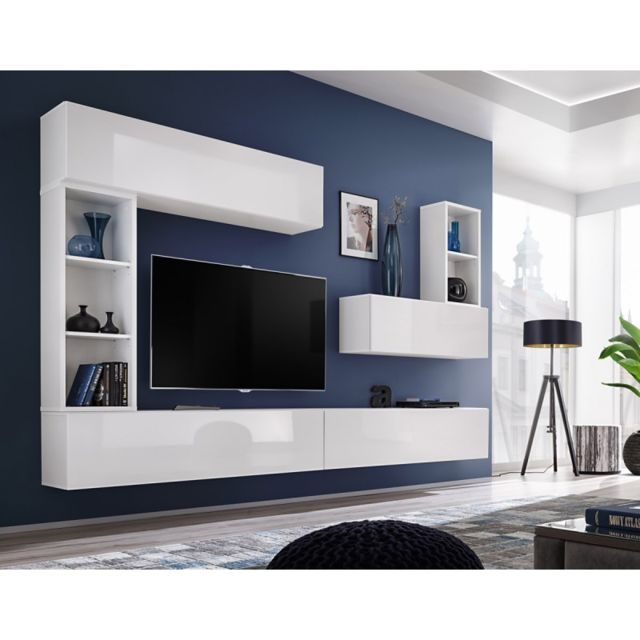 Paris Prix Meuble Tv Mural Design Blox I 280cm Blanc Pas Cher