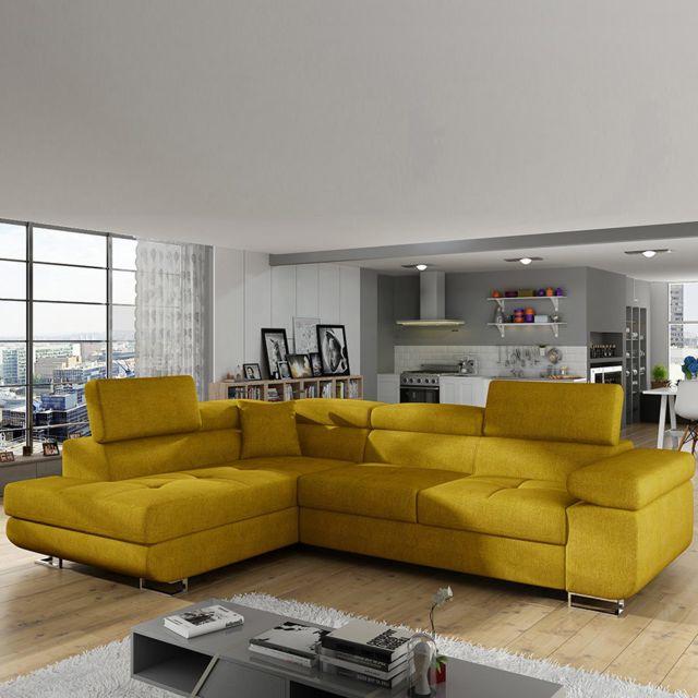 Sofamobili Canapé en tissu jaune convertible angle gauche Scott
