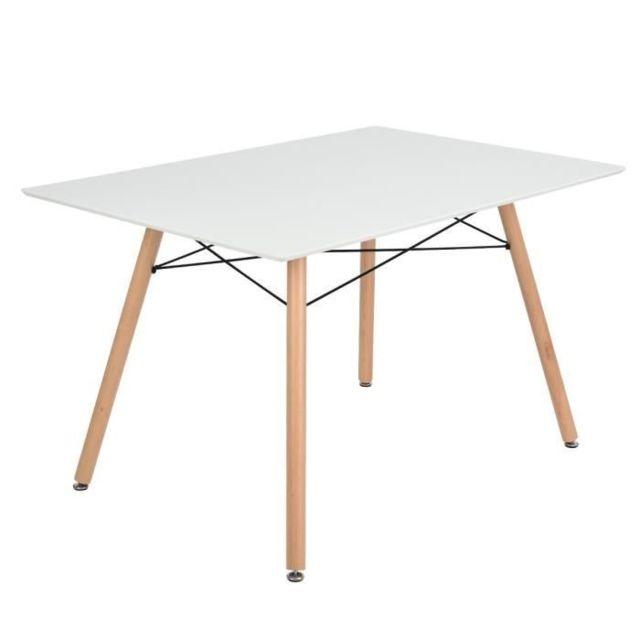 TABLE A MANGER AVEC CHAISES Ensemble table a manger 4 a 6 personnes LONDON + 4 chaises scandinaves ARGUS V1 - Blanc mat