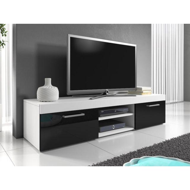 Mpc Meuble tv 140 cm blanc mat et portes laquées noir