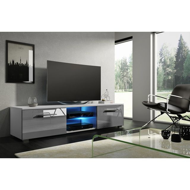 Vivaldi Moon Meuble Tv Design blanc mat avec gris brillant. Eclairage à la Led bleue