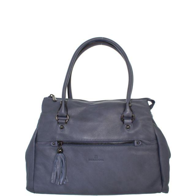 fd230cbb9a Hexagona - Sac en cuir porté épaule ref_xga39814-bleu denim - pas cher  Achat / Vente Sacs à main - RueDuCommerce