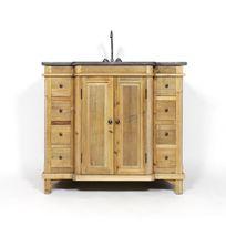 Made In Meubles - Meuble salle de bain bois massif 1 vasque 2 portes 8 petits tiroirs   Lop247
