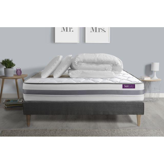 SEPTNUITS Pack matelas + sommier kit gris 160x200 Memo Spring Ressorts ensachés 3 zones MAXI épaisseur + Couette + 2 oreillers