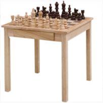 Engelhart - Table d'échecs en bois massif avec tiroirs