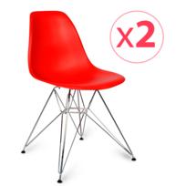 Novara Mobili - Pack 2 chaises Chrome Style Rouge avec pieds en métal chromé