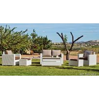 "Hevea Jardin - Hevea - Salon de jardin ""Tuscan"" - canapé 2 places + 2 fauteuils + table basse + 2 repose-pieds avec coussins"