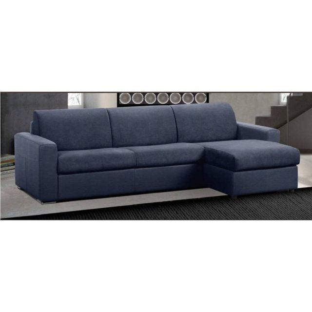 INSIDE 75 Canapé d'angle réversible RAPIDO MASTER Couchage 120 cm MATELAS 18CM tweed bleu