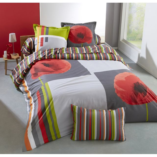 cotonflor housse de couette coquelicot en coton multicolore 200 x 200 cm pas cher achat. Black Bedroom Furniture Sets. Home Design Ideas