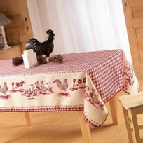 Deco-de-maison - Cdaffaires Nappe rectangle 150 x 240 cm polyester imprime basse cour Rouge