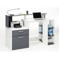 Bureau Oracle - MDF blanc/gris - 1 tiroir et 1 porte