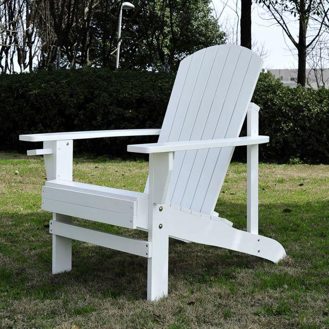 OUTSUNNY - Fauteuil de jardin Adirondack chaise longue inclinable en bois 97L x 73l x 93H cm blanc 16