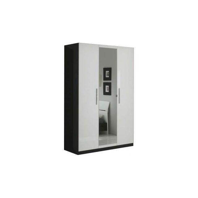 Decodesign Armoire 3 portes Gloria Noir-blanc