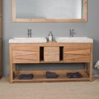 wanda collection meuble double en teck massif cosy 160cm 2 vasques crme - Meuble Double Vasque A Poser 2