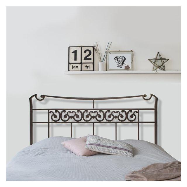 g n rique tete de lit 140 x 120 cm structure metal fer forge brun design pas cher achat. Black Bedroom Furniture Sets. Home Design Ideas