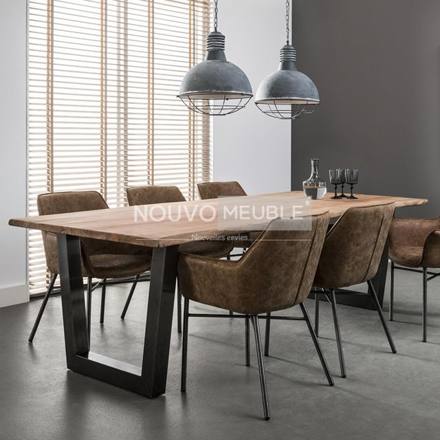Nouvomeuble Table salle à manger en bois massif Gretna