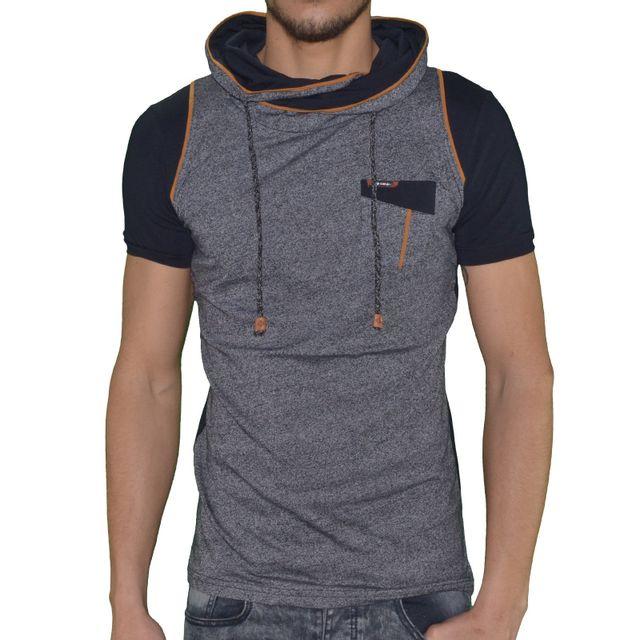 553c491e5209c Autre - Club Ju - T Shirt Manches Courtes - Homme - Cju 4491 Col Snood