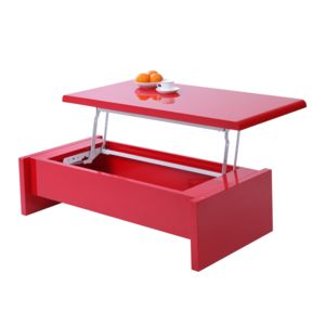 Miliboo table basse relevable rouge laqu lola pas for Table basse rouge laque