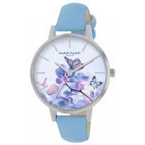 NAFNAF - Montre Flower Butterfly Naf Naf Femme Bleu Ciel - N10982-208-Fête des Mères