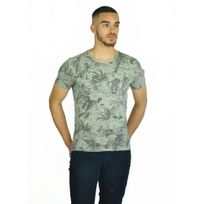 Mentex - T-shirt simple marron à fleurs Palma fabrication Italie