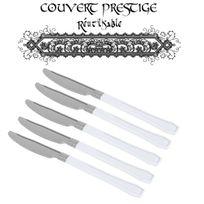 Vaisselle-jetable - 20 couteaux prestige jetables plastique blanc