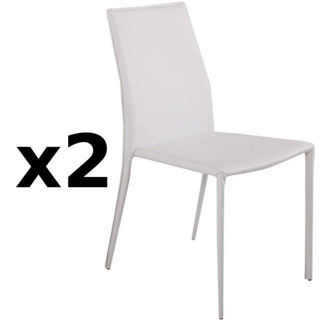 Inside 75 Lot de 2 chaises design Polo en tissu enduit polyuréthane simili façon cuir blanc