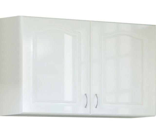 Comforium Meuble haut de cuisine style contemporain 100 cm avec 2 portes coloris blanc