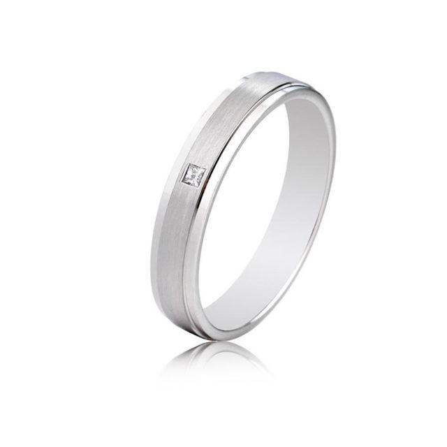 9c642876abf46 Tousmesbijoux - Alliance Diamant Princesse or blanc 18 carats de 4 ...