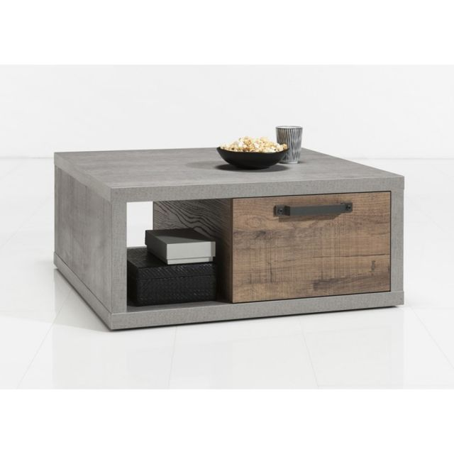 Meubletmoi Table basse carré avec tiroirs en bois marron et gris - Brooklyn