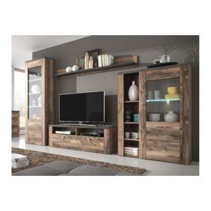 CHLOE DESIGN Ensemble meuble tv design ALERON Bois et noir