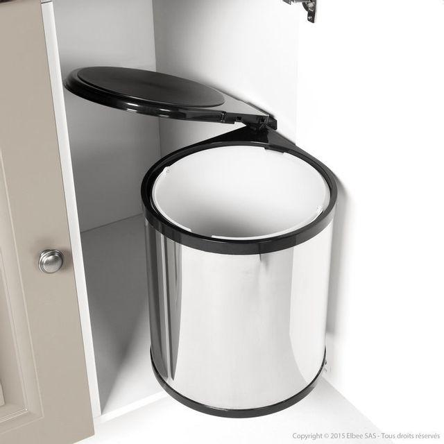 les essentiels by dlm poubelle de cuisine de porte 14l en inox pas cher achat vente. Black Bedroom Furniture Sets. Home Design Ideas