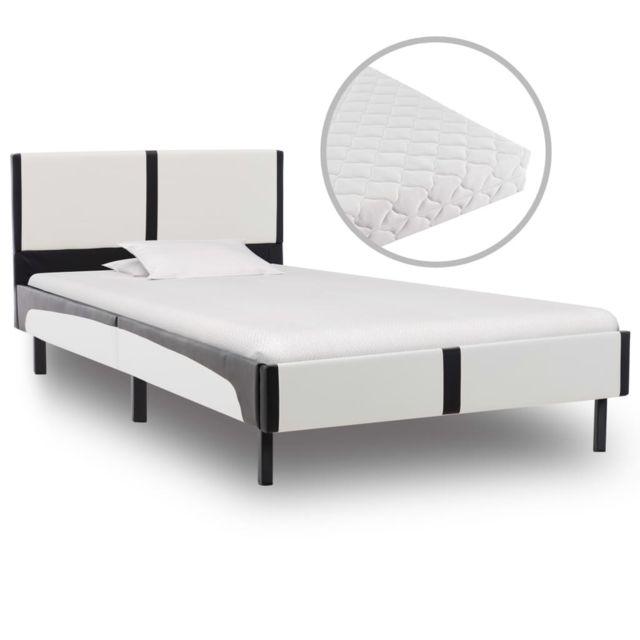 Uco Lit avec matelas Blanc et noir Similicuir 90 x 200 cm