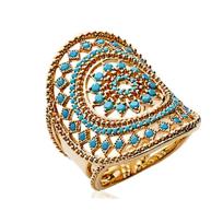 Collection Zanzybar - Bague Ethnique plaqué or rondes avec pierres turquoises, Zagora Dream Taille - 52