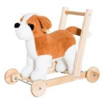 HOMCOM - Pousseur porteur chariot de marche chien fonction musicale 32 pistes marron beige neuf 69