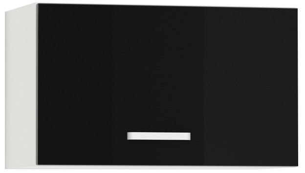 Comforium Meuble haut de cuisine design 60 cm pour hotte avec 1 porte horizontale coloris blanc mat et noir laqué