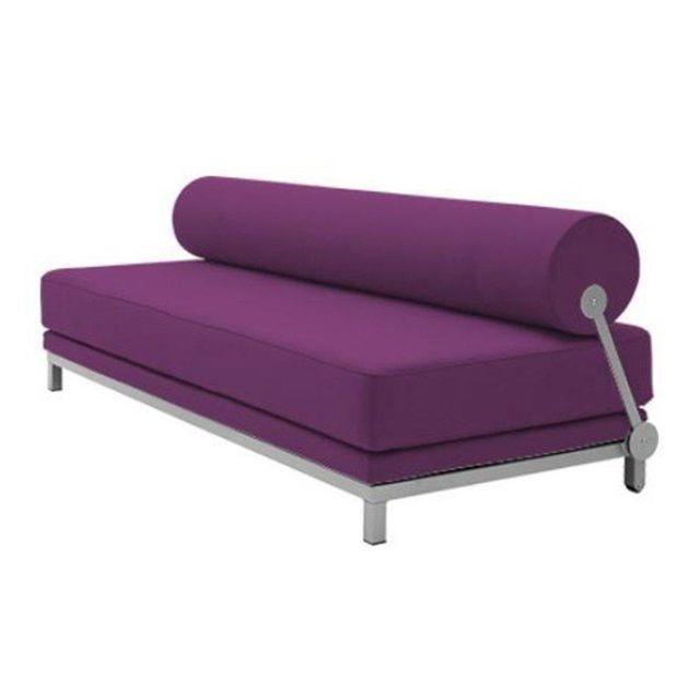 Inside 75 Canapé lit convertible design Sleep en tissu violet structure aluminium Softline