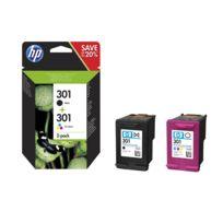 HP - N°301 - Pack de 2 cartouches d'encre noire / trois couleurs