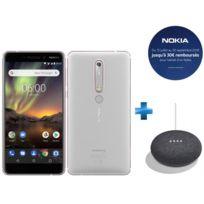 NOKIA - 6.1 - Blanc + Enceinte intelligente Google Home mini - Charbon