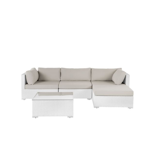BELIANI Salon de jardin en rotin blanc SANO II - blanc