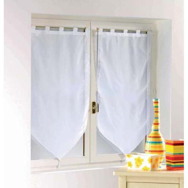 douceur d 39 interieur une paire de rideau voilage passants pompon 60 x 90 cm voiline blanc pas. Black Bedroom Furniture Sets. Home Design Ideas