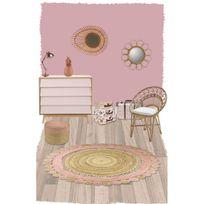 Nattiot - Tapis Anusha rond pour Chambre bébé fille par - Couleur - Rose, Taille - 140 / 140 cm