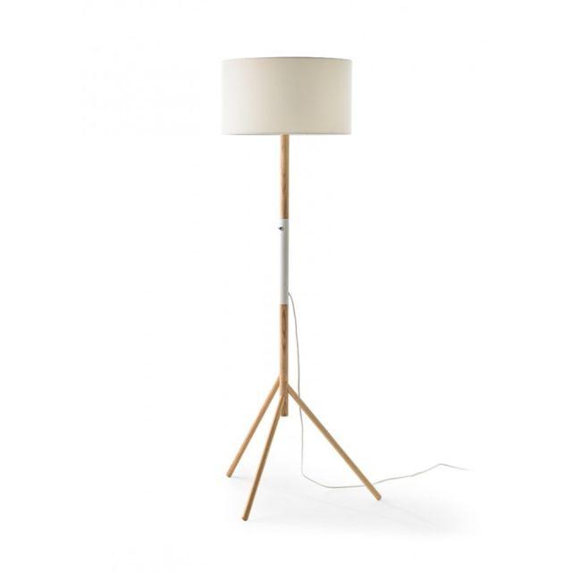 Lampadaire 153cm en bois et abat jour blanc Leon L 60 x l 60 x H 153