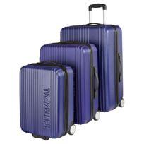 CARREFOUR - Lot de 3 valises rigides Traveller - ABS - 2 roues - Bleu