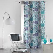 Coton D'INTERIEUR - Cdaffaires Rideau a oeillets 140 x 240 cm coton imprime persane Bleu