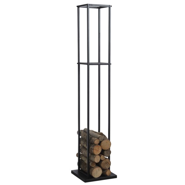 AUBRY GASPARD Grand rack à bûches en métal noir