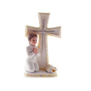 figurine 1 re communion gar on genoux croix 9 cm pas cher achat vente ustensile de. Black Bedroom Furniture Sets. Home Design Ideas