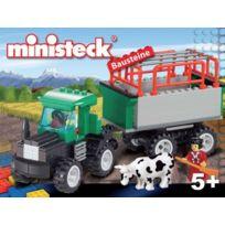 MINISTECK - Tracteur avec remorque et vache Briques