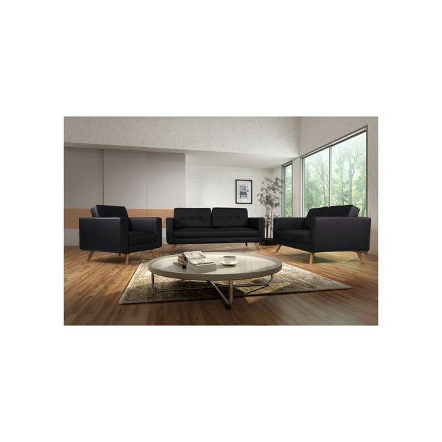 Rocambolesk Canapé fixe Hedvig 3+2+1 Pu soft 11 noir sofa divan